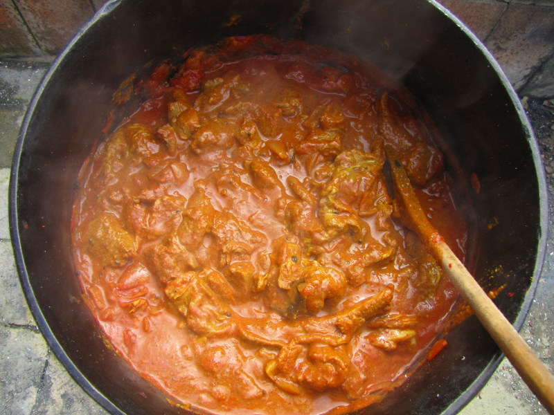 Lamb Madras in Potjie over fire