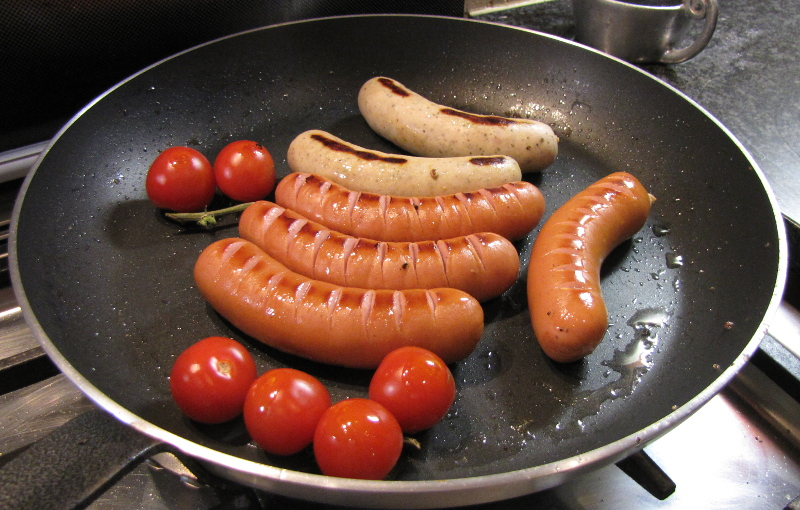 All the German sausages fried together