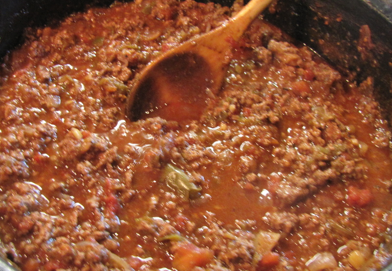 Bolognese sauce at the end