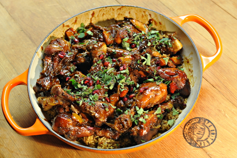 Chicken with prunes and pomegranate molasses - an Ottolenghi recipe
